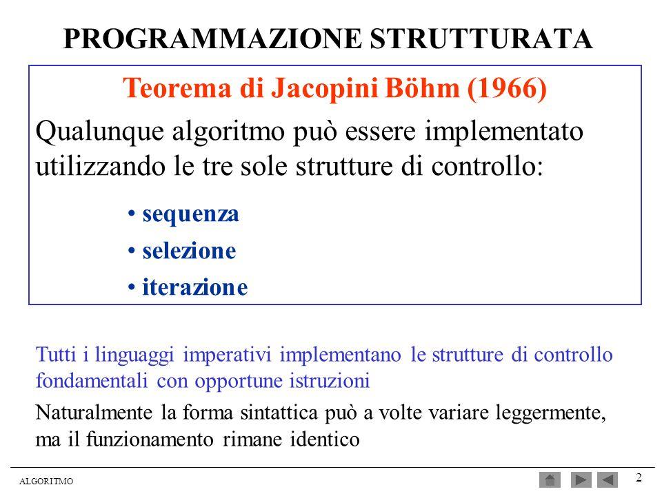 ALGORITMO 2 PROGRAMMAZIONE STRUTTURATA Teorema di Jacopini Böhm (1966) Qualunque algoritmo può essere implementato utilizzando le tre sole strutture d