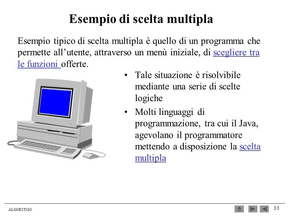 ALGORITMO 33 Esempio tipico di scelta multipla è quello di un programma che permette allutente, attraverso un menù iniziale, di scegliere tra le funzi