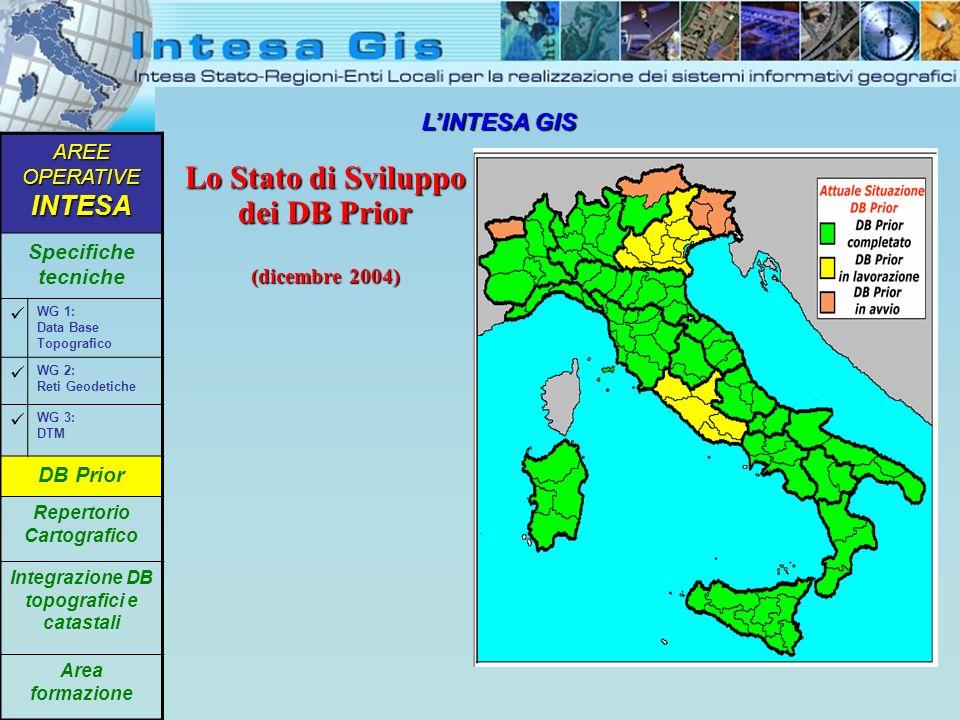 LINTESA GIS Lo Stato di Sviluppo dei DB Prior (dicembre 2004) AREE OPERATIVE INTESA Specifiche tecniche WG 1: Data Base Topografico WG 2: Reti Geodeti