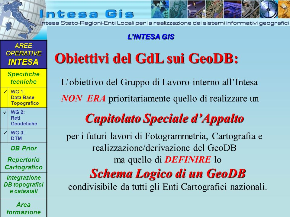 LINTESA GIS Obiettivi del GdL sui GeoDB: AREE OPERATIVE INTESA Specifiche tecniche WG 1: Data Base Topografico WG 2: Reti Geodetiche WG 3: DTM DB Prio