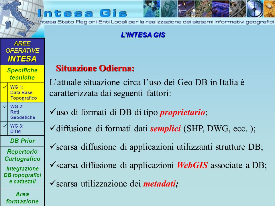 LINTESA GIS Gestione del Processo Realizzativo dei GeoDB: AREE OPERATIVE INTESA Specifiche tecniche WG 1: Data Base Topografico WG 2: Reti Geodetiche WG 3: DTM DB Prior Repertorio Cartografico Integrazione DB topografici e catastali Area formazione Il processo realizzativo dei Geo DB si scontra con alcuni fattori di difficoltà: il concetto di multiscala del GeoDB (1-2K/5K/10K/25K); la scarsa diffusione di esperienze, applicazioni e prodotti; la mancanza di uno standard per il passaggio dal modello concettuale a quello fisico ; la mancanza di specifiche produttive per il passaggio dalle CTRN ai GeoDB;