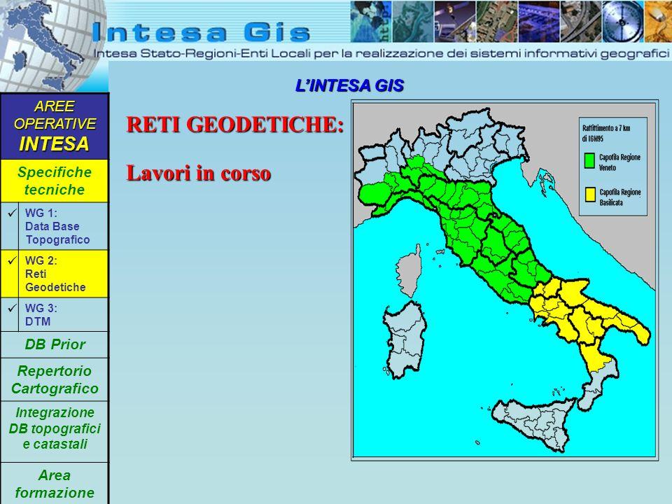 LINTESA GIS Rete primaria a 7 Km Regione Abruzzo AREE OPERATIVE INTESA Specifiche tecniche WG 1: Data Base Topografico WG 2: Reti Geodetiche WG 3: DTM DB Prior Repertorio Cartografico Integrazione DB topografici e catastali Area formazione RETI GEODETICHE: un esempio in realizzazione