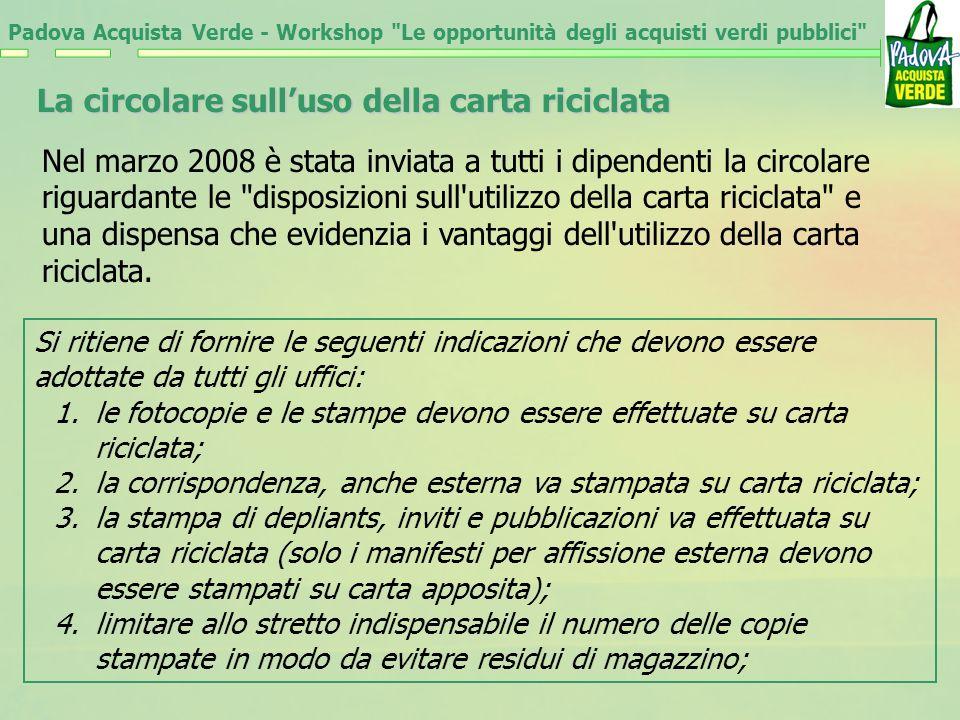 Padova Acquista Verde - Workshop Le opportunità degli acquisti verdi pubblici La circolare sulluso della carta riciclata Nel marzo 2008 è stata inviata a tutti i dipendenti la circolare riguardante le disposizioni sull utilizzo della carta riciclata e una dispensa che evidenzia i vantaggi dell utilizzo della carta riciclata.