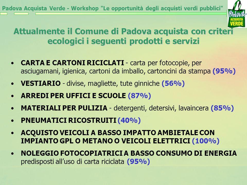 Attualmente il Comune di Padova acquista con criteri ecologici i seguenti prodotti e servizi CARTA E CARTONI RICICLATI - carta per fotocopie, per asciugamani, igienica, cartoni da imballo, cartoncini da stampa (95%) VESTIARIO - divise, magliette, tute ginniche (56%) ARREDI PER UFFICI E SCUOLE (87%) MATERIALI PER PULIZIA - detergenti, detersivi, lavaincera (85%) PNEUMATICI RICOSTRUITI (40%) ACQUISTO VEICOLI A BASSO IMPATTO AMBIETALE CON IMPIANTO GPL O METANO O VEICOLI ELETTRICI (100%) NOLEGGIO FOTOCOPIATRICI A BASSO CONSUMO DI ENERGIA predisposti alluso di carta riciclata (95%) Padova Acquista Verde - Workshop Le opportunità degli acquisti verdi pubblici
