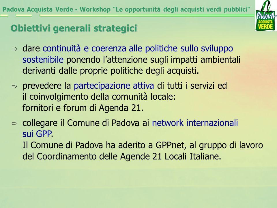 Padova Acquista Verde - Workshop Le opportunità degli acquisti verdi pubblici Obiettivi generali strategici promuovere il miglioramento della qualità degli acquisti e dei servizi orientati verso una maggiore sostenibilità.
