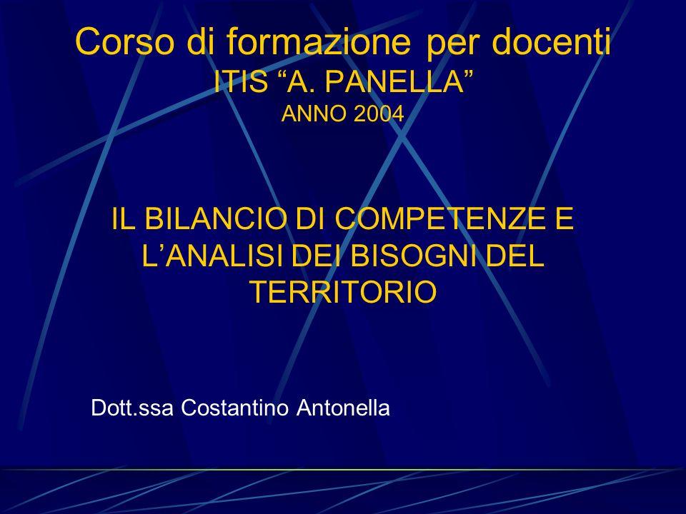 Corso di formazione per docenti ITIS A. PANELLA ANNO 2004 IL BILANCIO DI COMPETENZE E LANALISI DEI BISOGNI DEL TERRITORIO Dott.ssa Costantino Antonell
