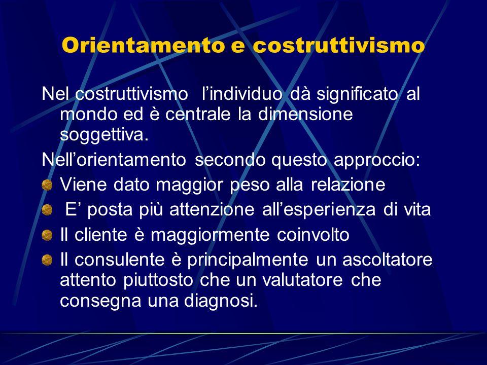Orientamento e costruttivismo Nel costruttivismo lindividuo dà significato al mondo ed è centrale la dimensione soggettiva. Nellorientamento secondo q