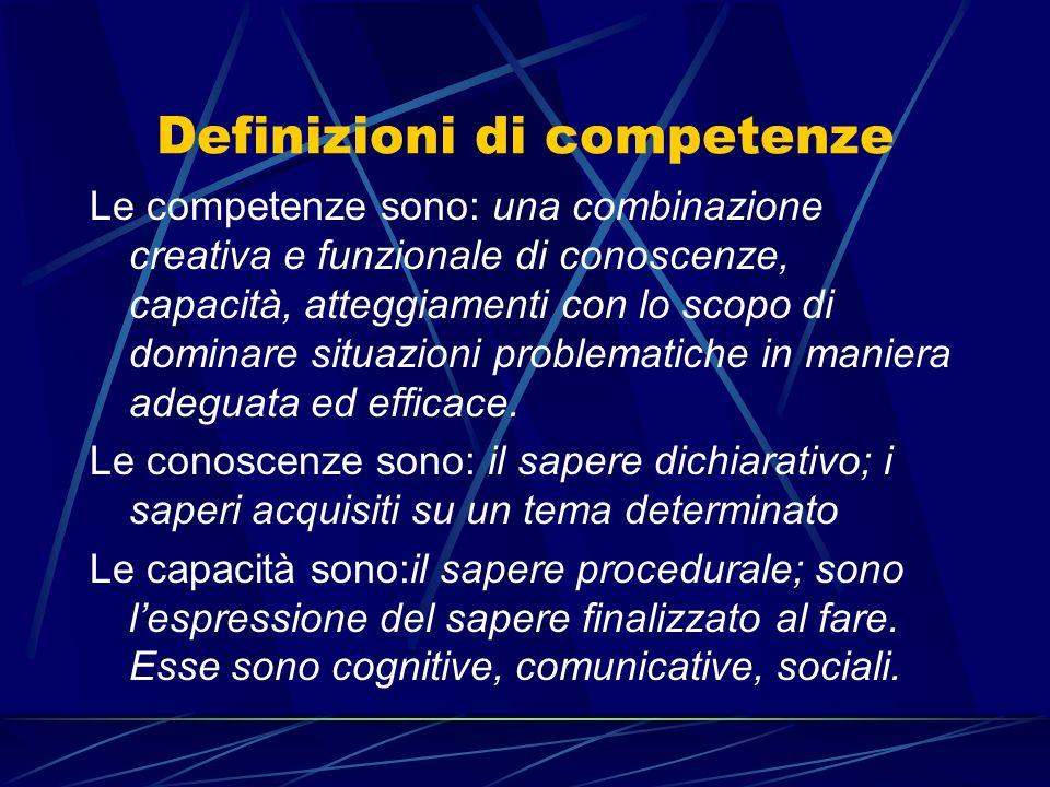 Definizioni di competenze Le competenze sono: una combinazione creativa e funzionale di conoscenze, capacità, atteggiamenti con lo scopo di dominare s