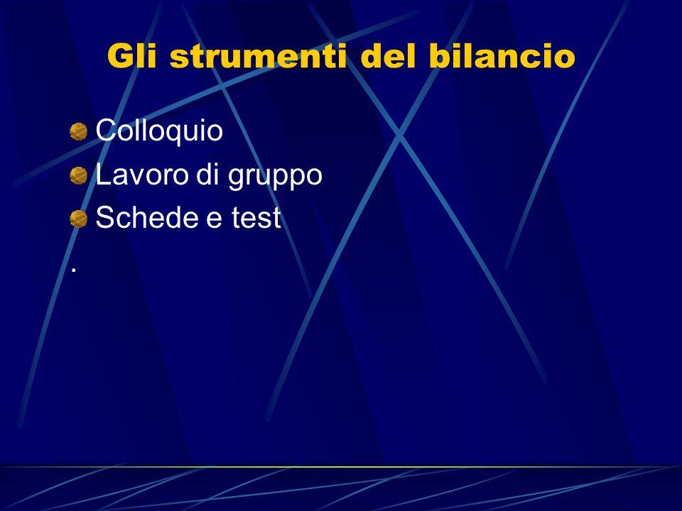 Gli strumenti del bilancio Colloquio Lavoro di gruppo Schede e test.