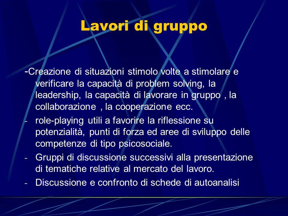 Lavori di gruppo - Creazione di situazioni stimolo volte a stimolare e verificare la capacità di problem solving, la leadership, la capacità di lavora