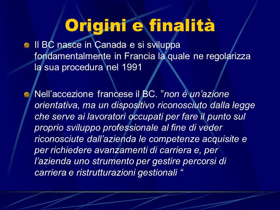 Origini e finalità Il BC nasce in Canada e si sviluppa fondamentalmente in Francia la quale ne regolarizza la sua procedura nel 1991 Nellaccezione fra