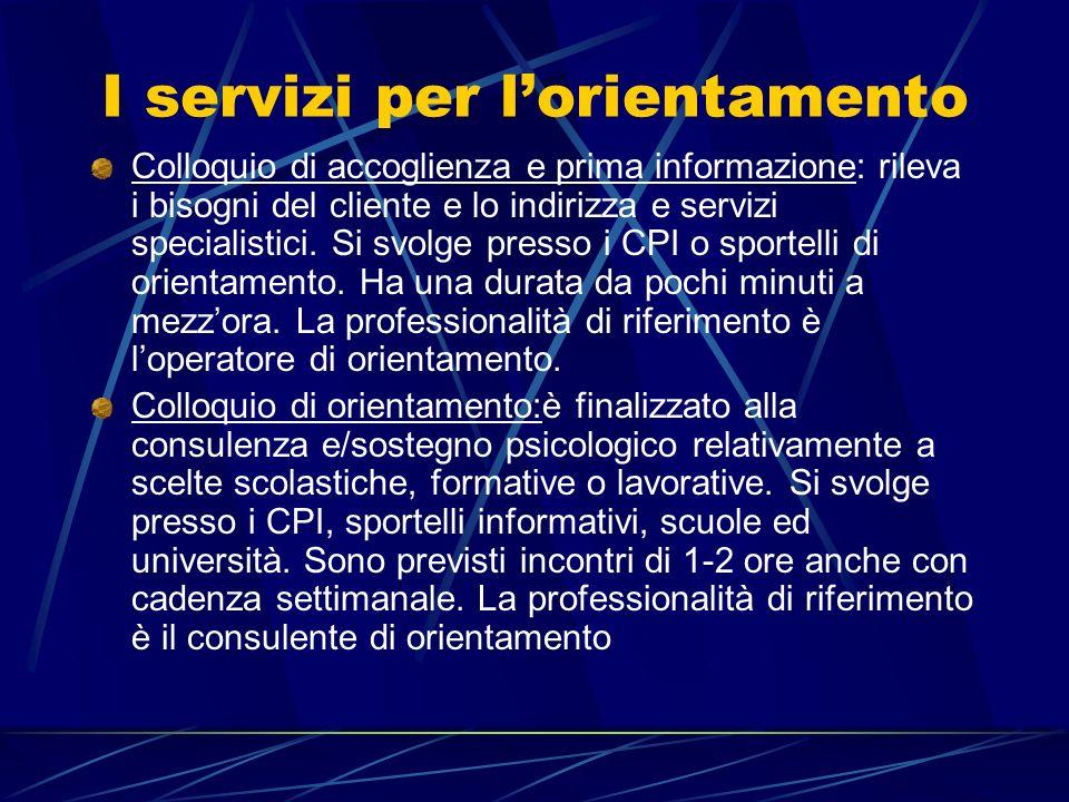 I servizi per lorientamento Colloquio di accoglienza e prima informazione: rileva i bisogni del cliente e lo indirizza e servizi specialistici. Si svo