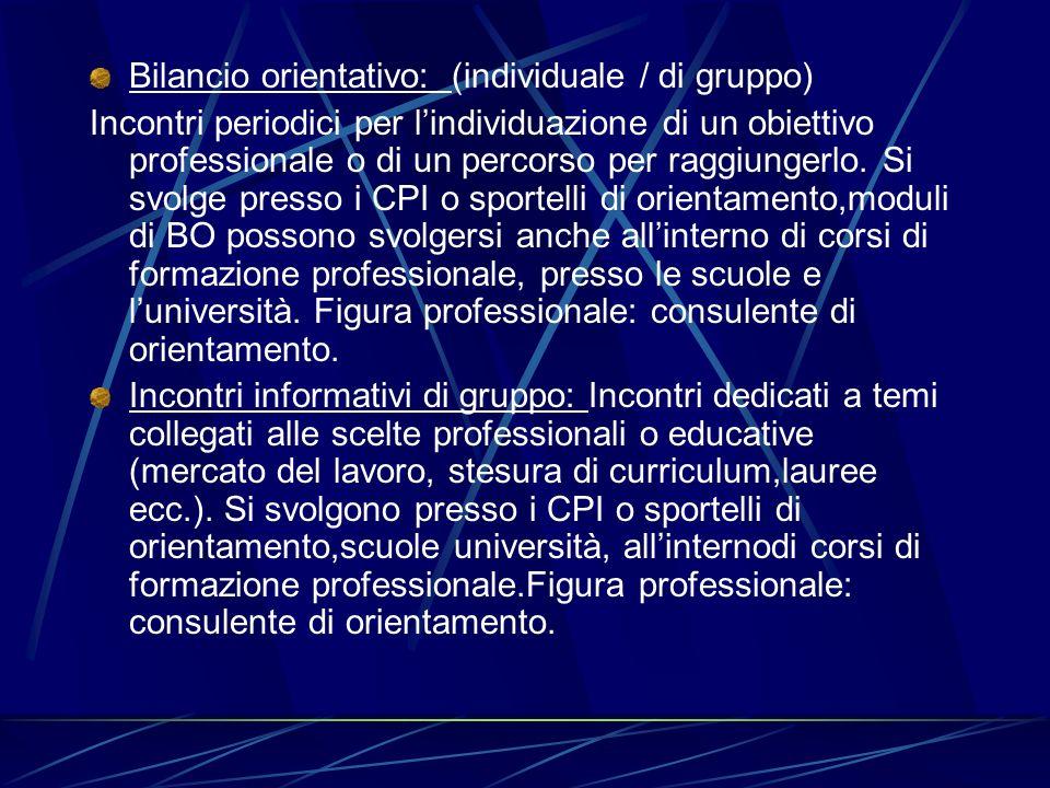 Bilancio orientativo: (individuale / di gruppo) Incontri periodici per lindividuazione di un obiettivo professionale o di un percorso per raggiungerlo
