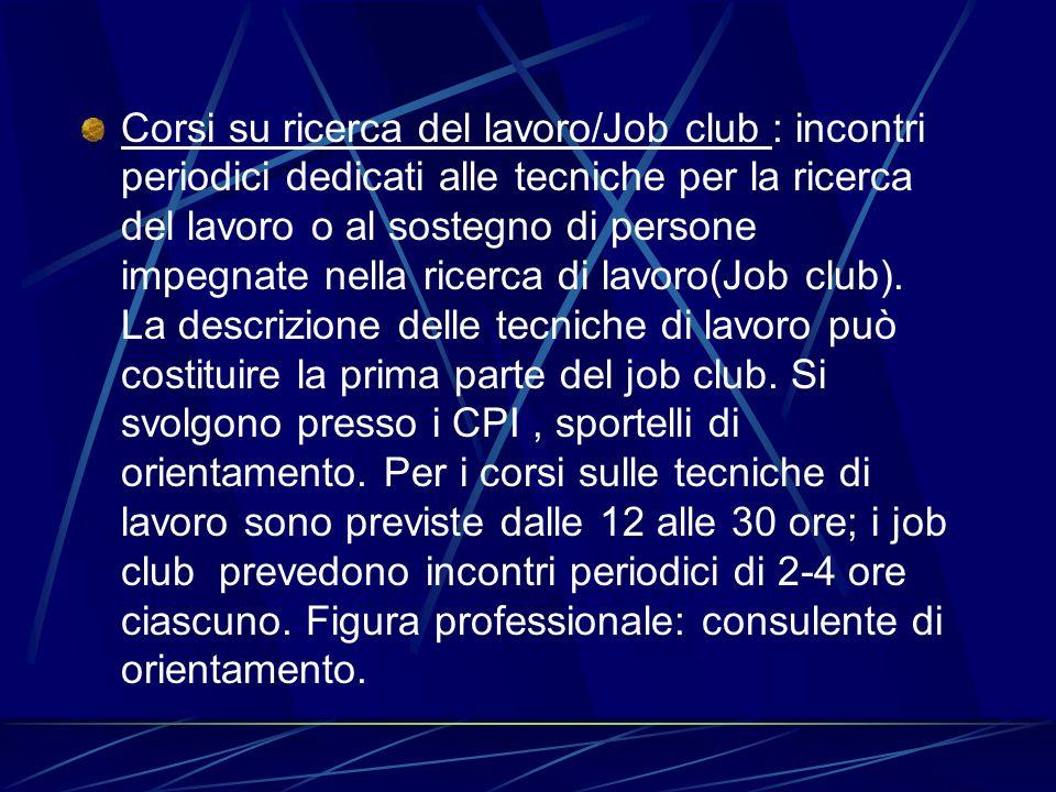 Corsi su ricerca del lavoro/Job club : incontri periodici dedicati alle tecniche per la ricerca del lavoro o al sostegno di persone impegnate nella ri