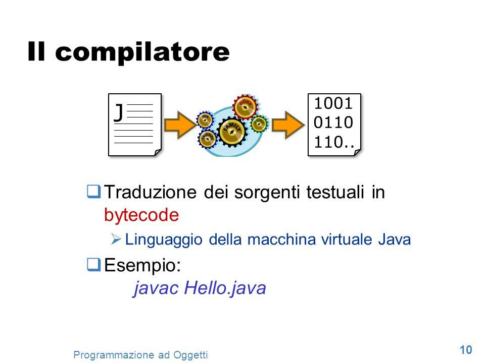 10 Programmazione ad Oggetti Il compilatore Traduzione dei sorgenti testuali in bytecode Linguaggio della macchina virtuale Java Esempio: javac Hello.