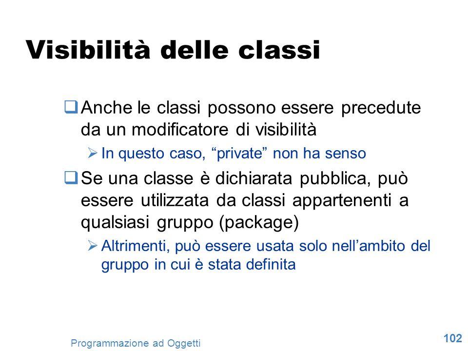102 Programmazione ad Oggetti Visibilità delle classi Anche le classi possono essere precedute da un modificatore di visibilità In questo caso, privat