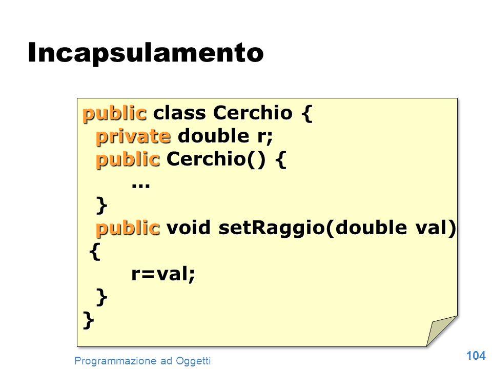 104 Programmazione ad Oggetti public class Cerchio { private double r; private double r; public Cerchio() { public Cerchio() {... }... } public void s