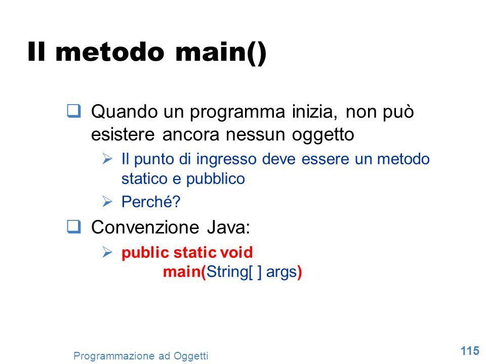 115 Programmazione ad Oggetti Il metodo main() Quando un programma inizia, non può esistere ancora nessun oggetto Il punto di ingresso deve essere un
