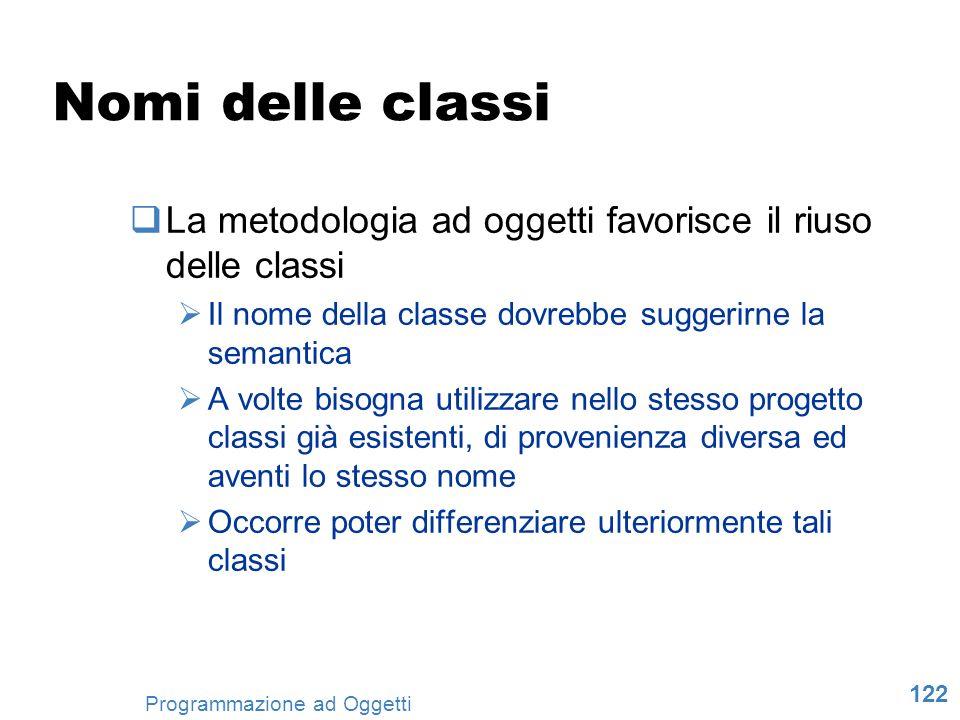 122 Programmazione ad Oggetti Nomi delle classi La metodologia ad oggetti favorisce il riuso delle classi Il nome della classe dovrebbe suggerirne la