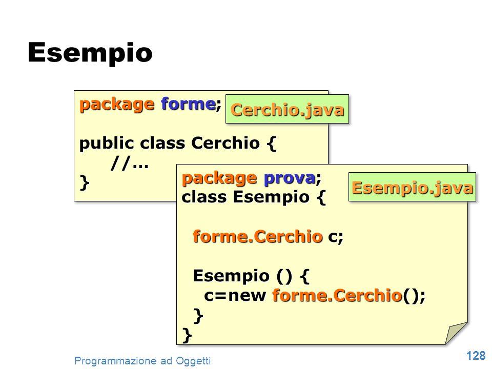 128 Programmazione ad Oggetti package forme; public class Cerchio { //…} package forme; public class Cerchio { //…} package prova; class Esempio { for