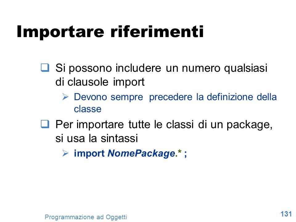 131 Programmazione ad Oggetti Importare riferimenti Si possono includere un numero qualsiasi di clausole import Devono sempre precedere la definizione