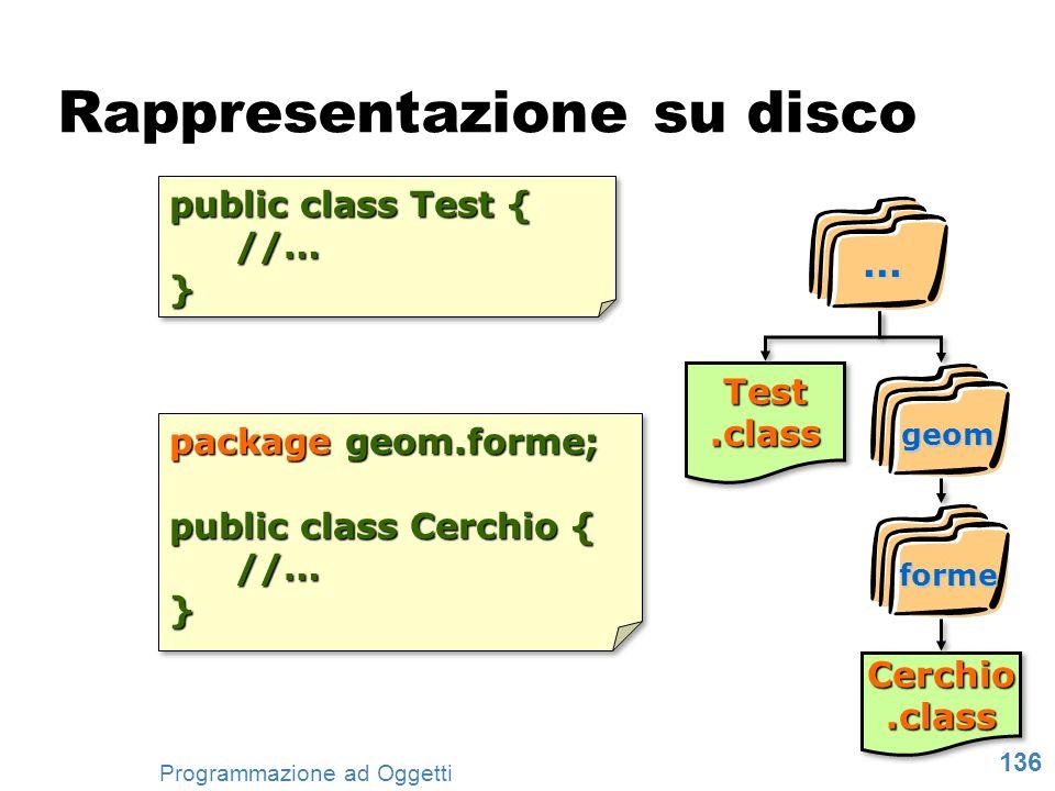 136 Programmazione ad Oggetti package geom.forme; public class Cerchio { //…} package geom.forme; public class Cerchio { //…} public class Test { //…}