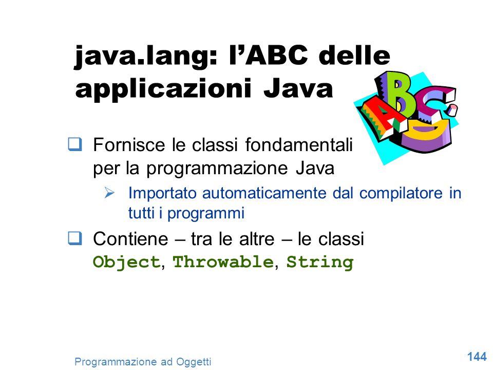 144 Programmazione ad Oggetti java.lang: lABC delle applicazioni Java Fornisce le classi fondamentali per la programmazione Java Importato automaticam
