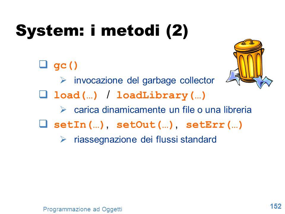 152 Programmazione ad Oggetti System: i metodi (2) gc() invocazione del garbage collector load(…) / loadLibrary(…) carica dinamicamente un file o una
