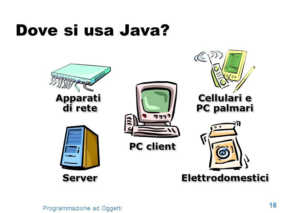 16 Programmazione ad Oggetti Cellulari e PC palmari Elettrodomestici PC client Server Apparati di rete Dove si usa Java?