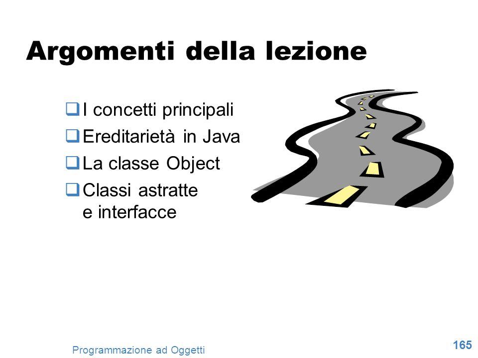 165 Programmazione ad Oggetti Argomenti della lezione I concetti principali Ereditarietà in Java La classe Object Classi astratte e interfacce