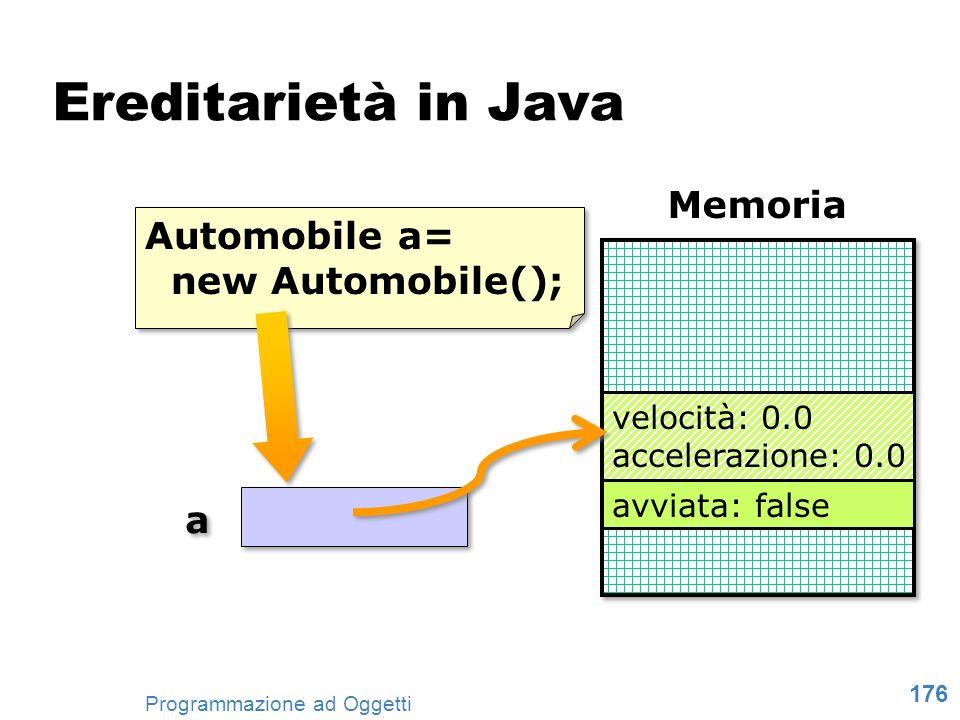 176 Programmazione ad Oggetti Ereditarietà in Java Memoria Automobile a= new Automobile(); Automobile a= new Automobile(); velocità: 0.0 accelerazione