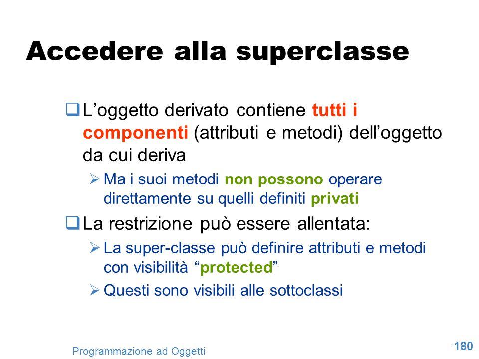 180 Programmazione ad Oggetti Accedere alla superclasse Loggetto derivato contiene tutti i componenti (attributi e metodi) delloggetto da cui deriva M