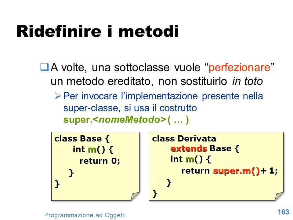 183 Programmazione ad Oggetti Ridefinire i metodi A volte, una sottoclasse vuole perfezionare un metodo ereditato, non sostituirlo in toto Per invocar