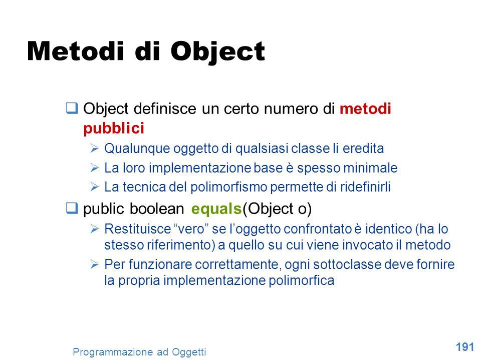 191 Programmazione ad Oggetti Metodi di Object Object definisce un certo numero di metodi pubblici Qualunque oggetto di qualsiasi classe li eredita La