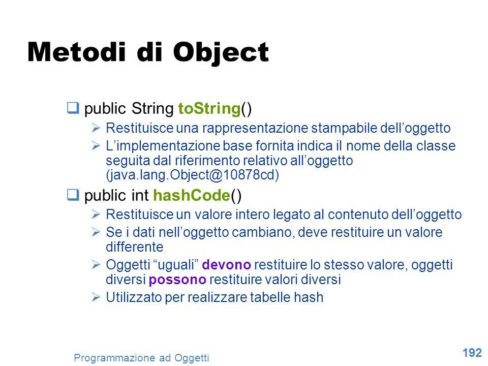 192 Programmazione ad Oggetti Metodi di Object public String toString() Restituisce una rappresentazione stampabile delloggetto Limplementazione base