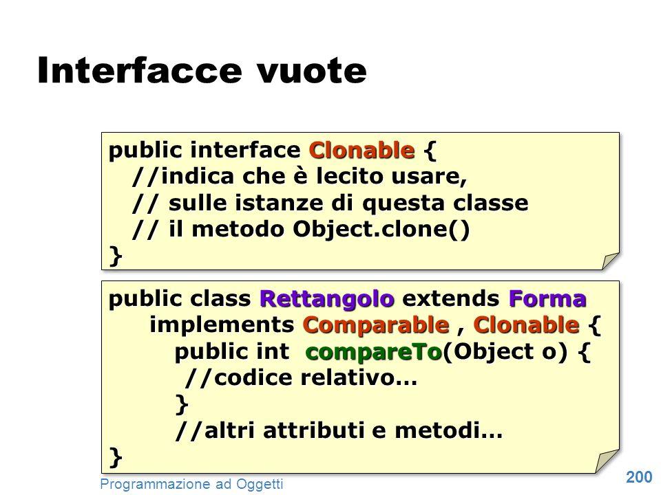200 Programmazione ad Oggetti Interfacce vuote public interface Clonable { //indica che è lecito usare, //indica che è lecito usare, // sulle istanze