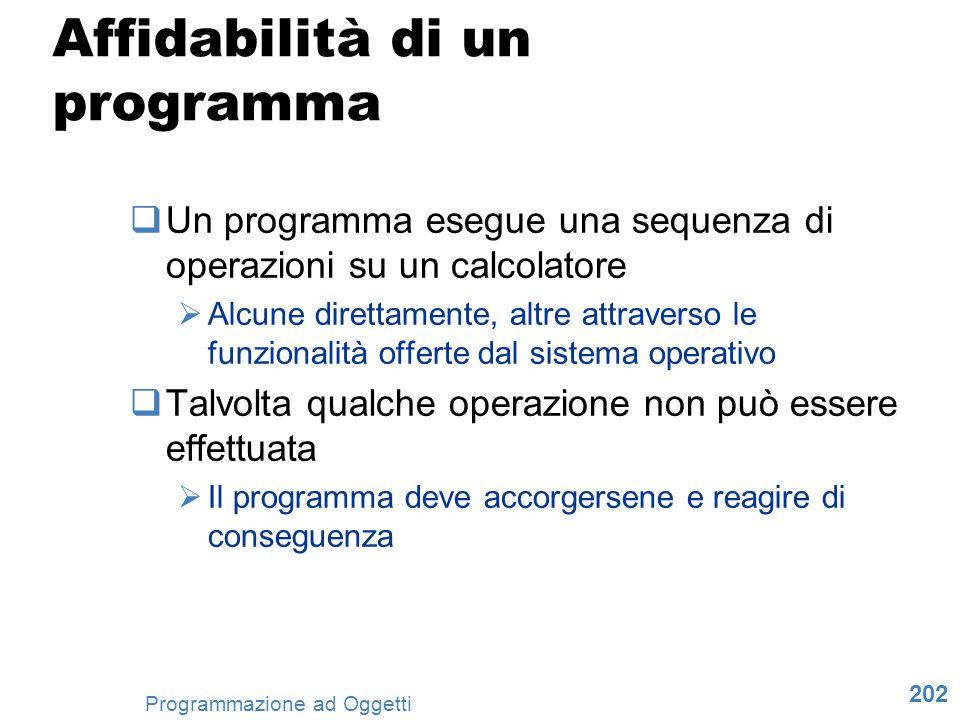 202 Programmazione ad Oggetti Affidabilità di un programma Un programma esegue una sequenza di operazioni su un calcolatore Alcune direttamente, altre