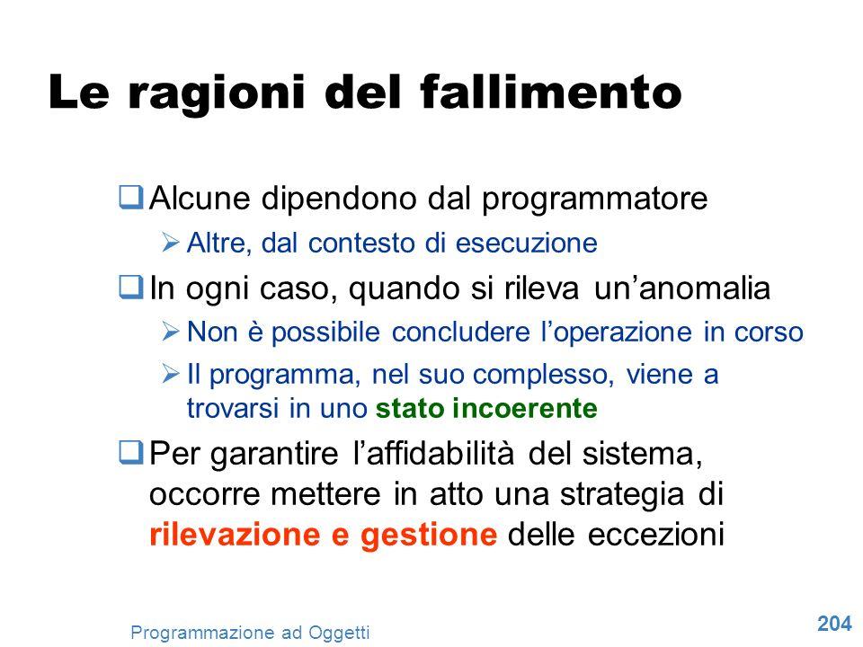 204 Programmazione ad Oggetti Le ragioni del fallimento Alcune dipendono dal programmatore Altre, dal contesto di esecuzione In ogni caso, quando si r