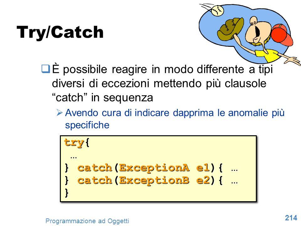 214 Programmazione ad Oggetti Try/Catch È possibile reagire in modo differente a tipi diversi di eccezioni mettendo più clausole catch in sequenza Ave