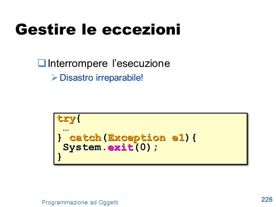 226 Programmazione ad Oggetti Gestire le eccezioni Interrompere lesecuzione Disastro irreparabile! try{ … } catch(Exception e1){ System.exit(0); Syste
