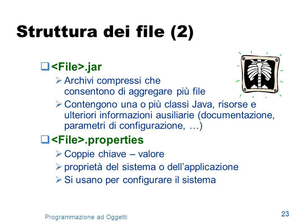23 Programmazione ad Oggetti Struttura dei file (2).jar Archivi compressi che consentono di aggregare più file Contengono una o più classi Java, risor