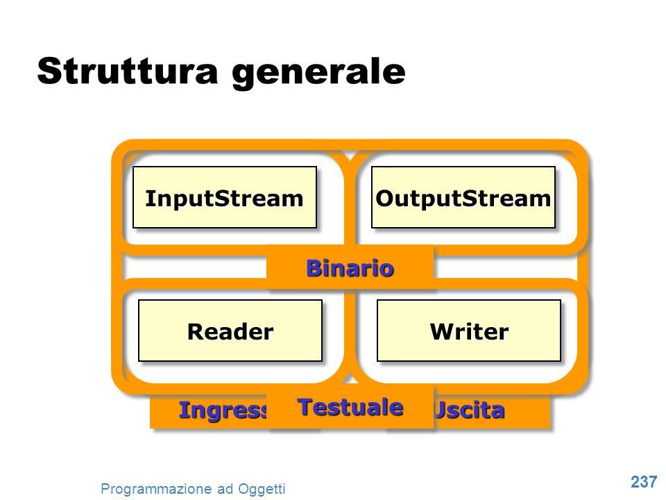 237 Programmazione ad Oggetti Struttura generale InputStreamInputStreamOutputStreamOutputStream ReaderReaderWriterWriter IngressoIngressoUscitaUscita