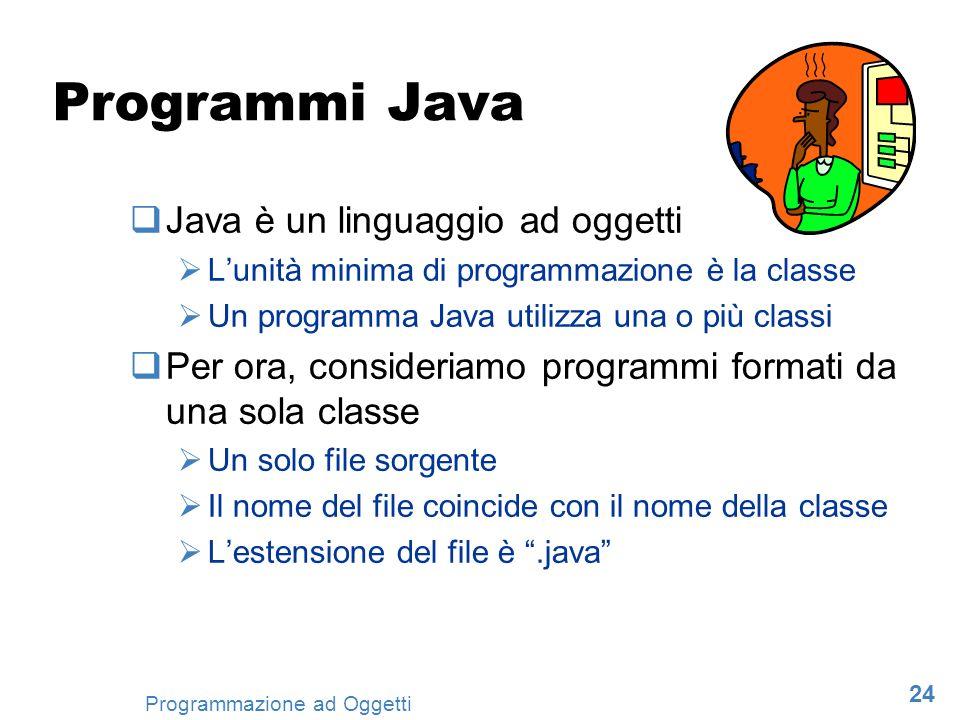 24 Programmazione ad Oggetti Programmi Java Java è un linguaggio ad oggetti Lunità minima di programmazione è la classe Un programma Java utilizza una