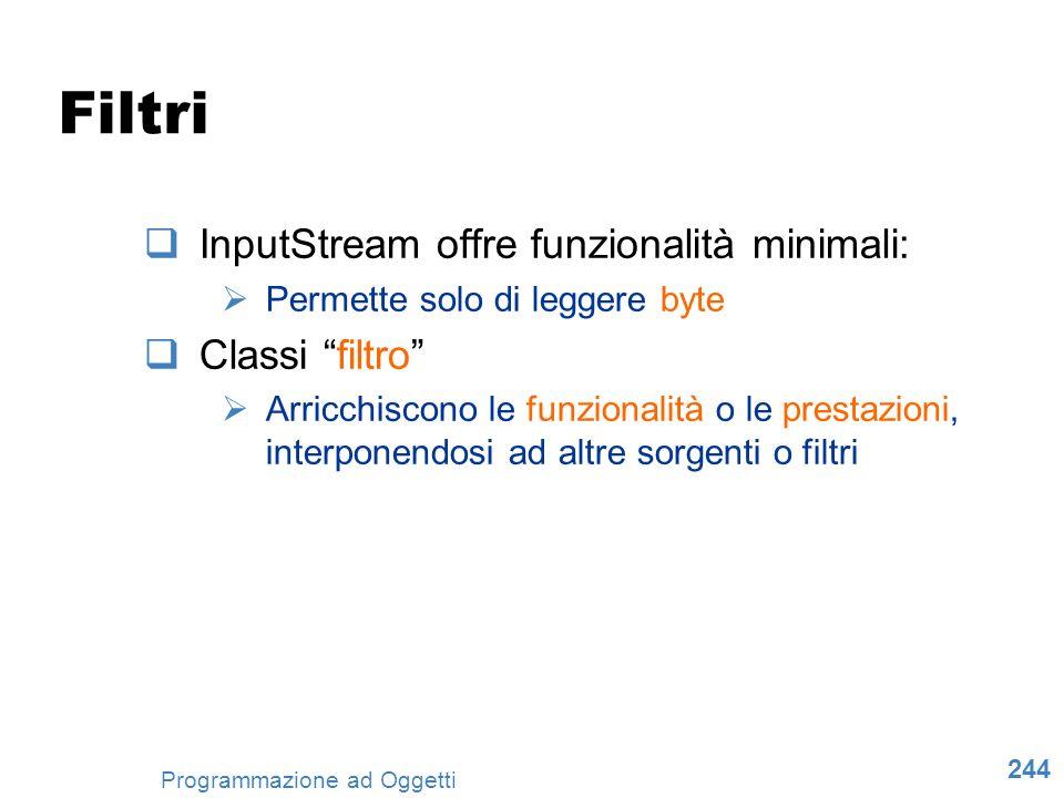 244 Programmazione ad Oggetti Filtri InputStream offre funzionalità minimali: Permette solo di leggere byte Classi filtro Arricchiscono le funzionalit