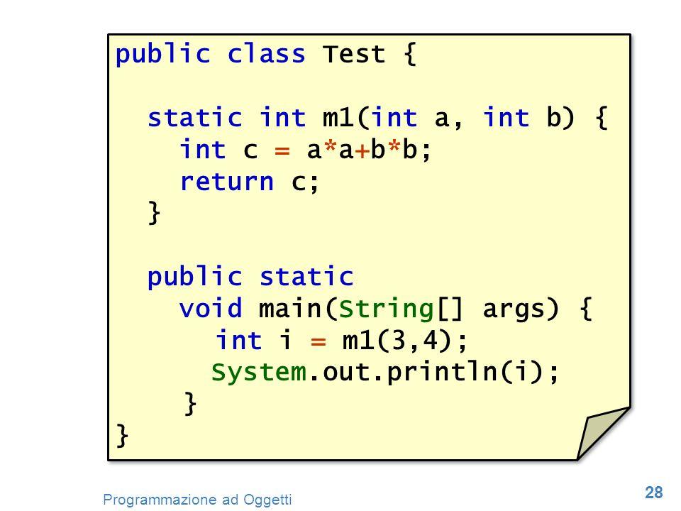 28 Programmazione ad Oggetti public class Test { static int m1(int a, int b) { int c = a*a+b*b; return c; } public static void main(String[] args) { i