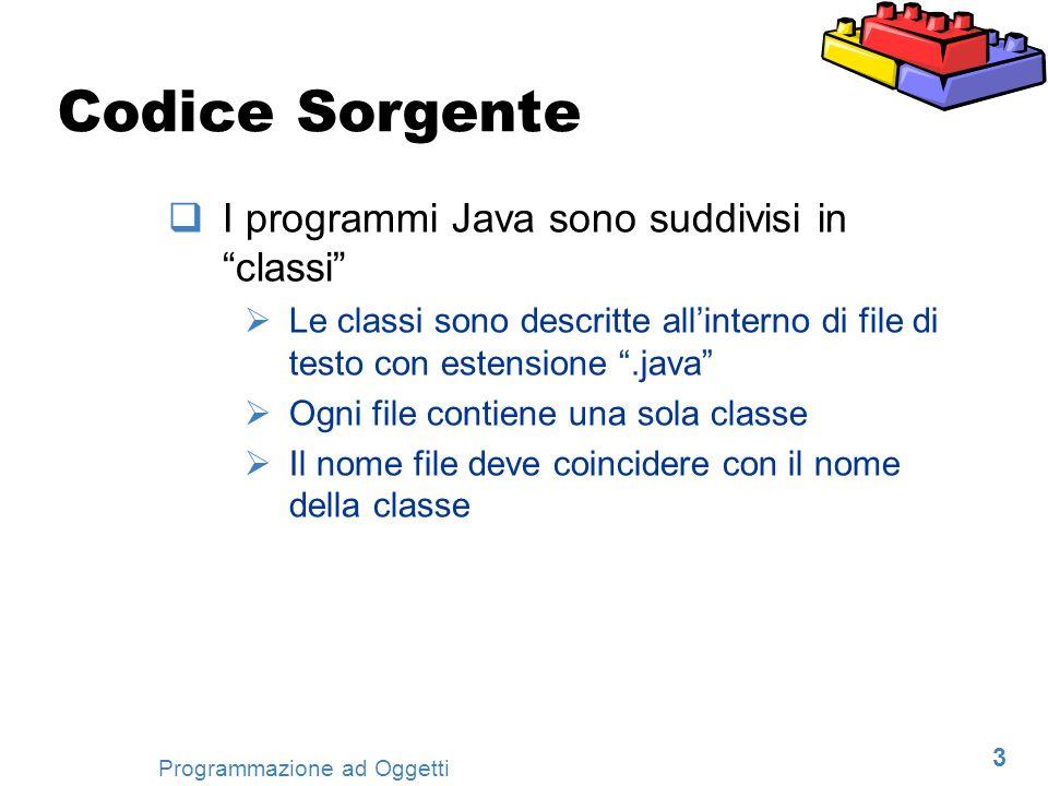 24 Programmazione ad Oggetti Programmi Java Java è un linguaggio ad oggetti Lunità minima di programmazione è la classe Un programma Java utilizza una o più classi Per ora, consideriamo programmi formati da una sola classe Un solo file sorgente Il nome del file coincide con il nome della classe Lestensione del file è.java