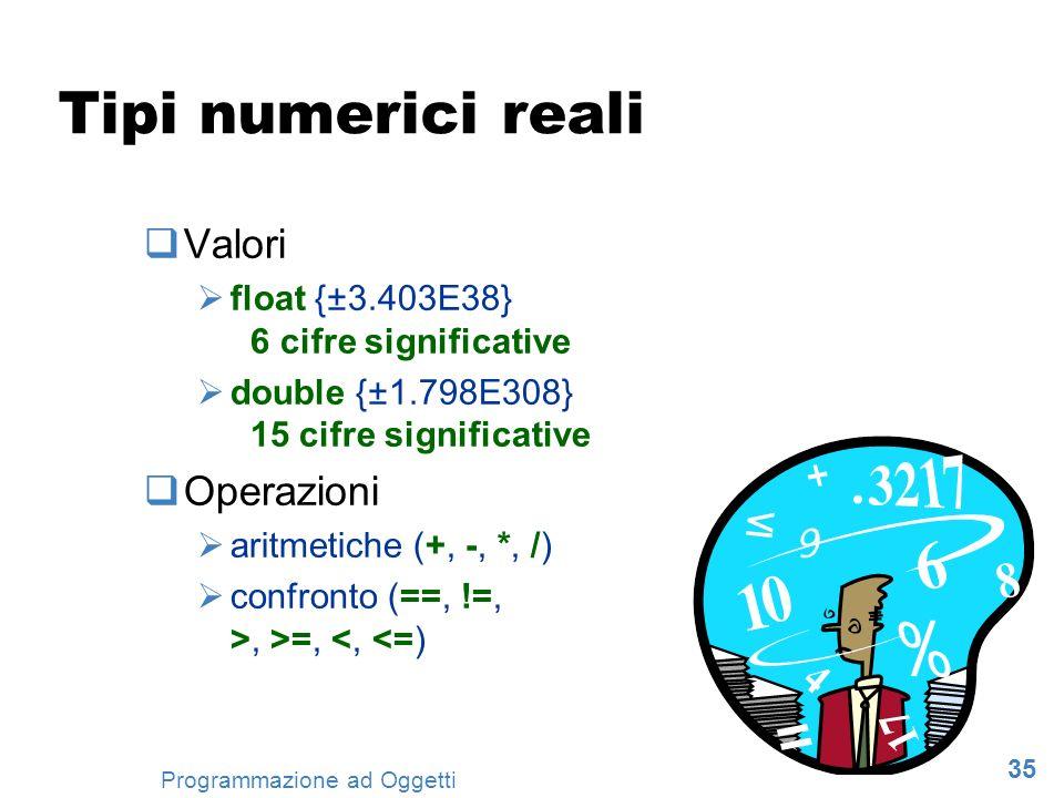 35 Programmazione ad Oggetti Tipi numerici reali Valori float {±3.403E38} 6 cifre significative double {±1.798E308} 15 cifre significative Operazioni