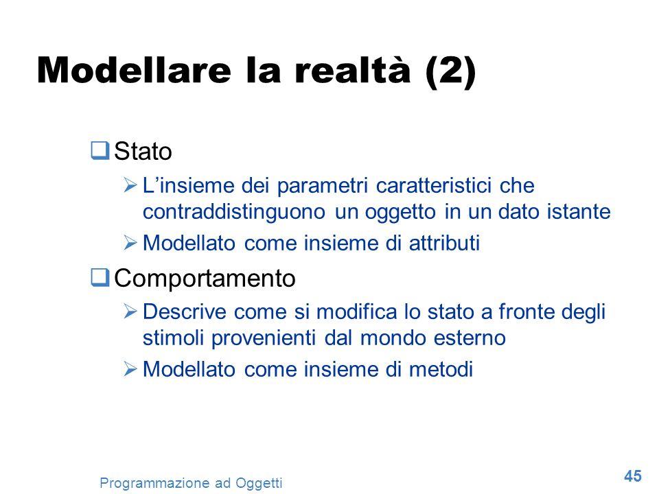 45 Programmazione ad Oggetti Modellare la realtà (2) Stato Linsieme dei parametri caratteristici che contraddistinguono un oggetto in un dato istante