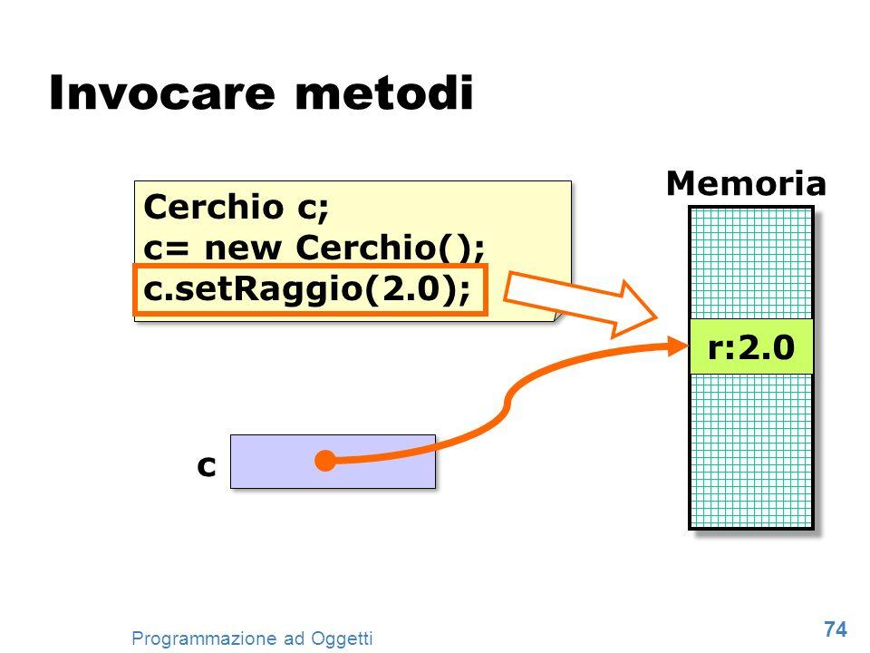 74 Programmazione ad Oggetti Invocare metodi Cerchio c; c= new Cerchio(); c.setRaggio(2.0); Cerchio c; c= new Cerchio(); c.setRaggio(2.0); Memoria r:1