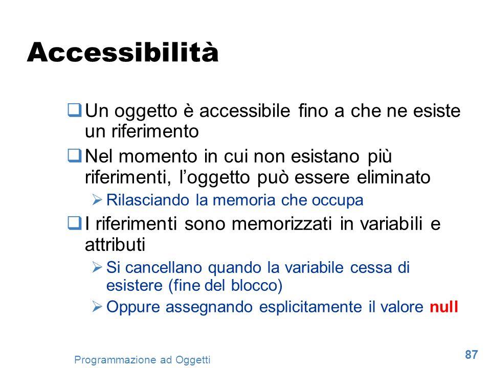87 Programmazione ad Oggetti Accessibilità Un oggetto è accessibile fino a che ne esiste un riferimento Nel momento in cui non esistano più riferiment